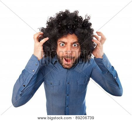 Man With Crazy Expression And Puffy Hair