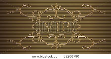 Caption Vip In Engraving Style. Vector Illustration.