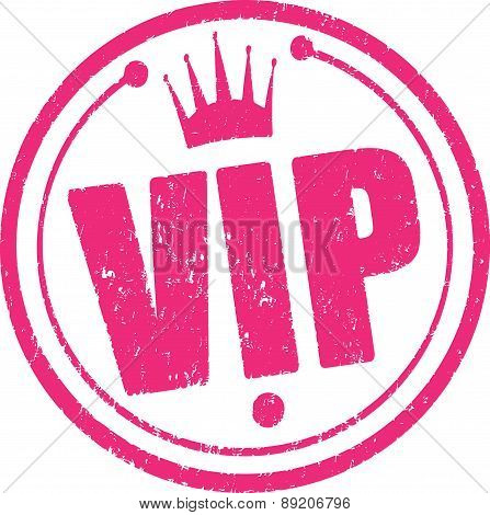 Rubber stamp with VIP Design and crown. Vector illustration.