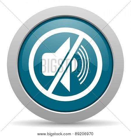 mute blue glossy web icon