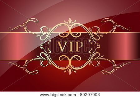 VIP design on a red background. Vector illustration.