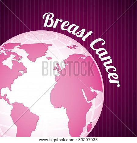 Breast cancer design over purple background vector illustration