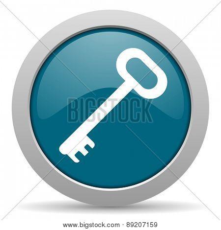 key blue glossy web icon