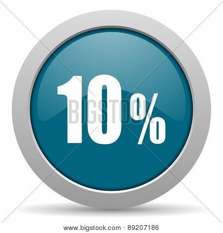 10 percent blue glossy web icon