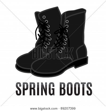 vector cartoon black army boots