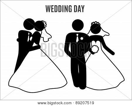 stick figure wedding couples