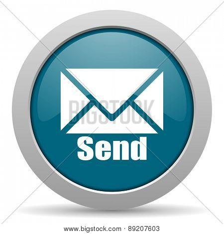 send blue glossy web icon
