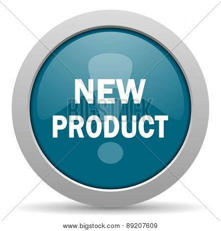 new product blue glossy web icon