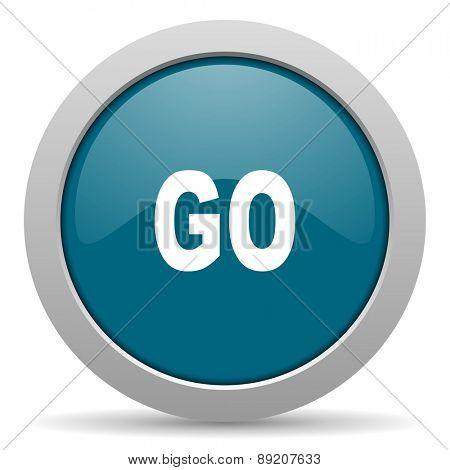 go blue glossy web icon