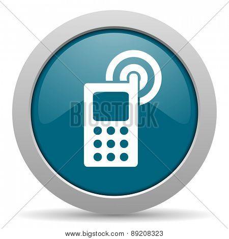 phone blue glossy web icon