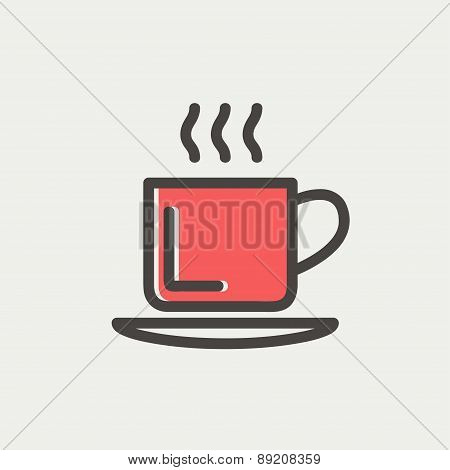 Cup of hot coffee thin line icon