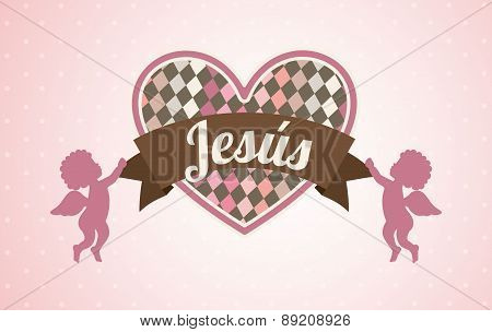Jesus design over pink background vector illustration
