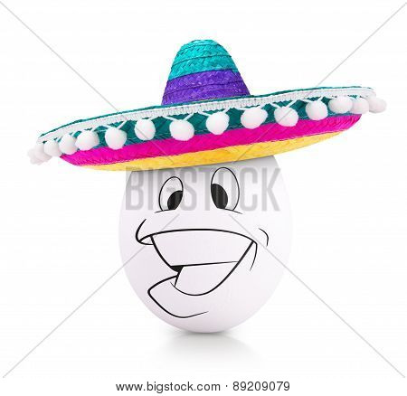 Concept white egg with happy face in a sombrero