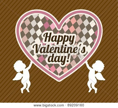 valentines day over brown background vector illustration