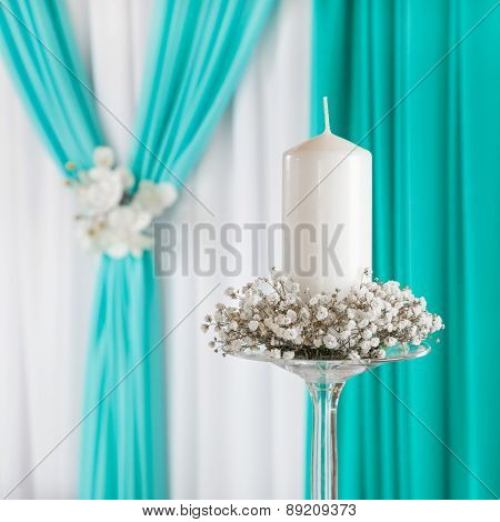 Decorated Curtain And Candle On Candlestick. Wedding Decoration.