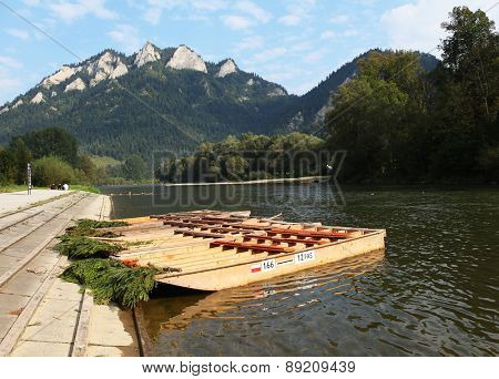 Wood raft in autumn landscape, Trzy Korony,Pieniny, Beskid Niski Mountains, Poland