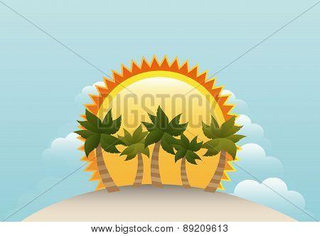 Summer design icon over landscape background vector illustration
