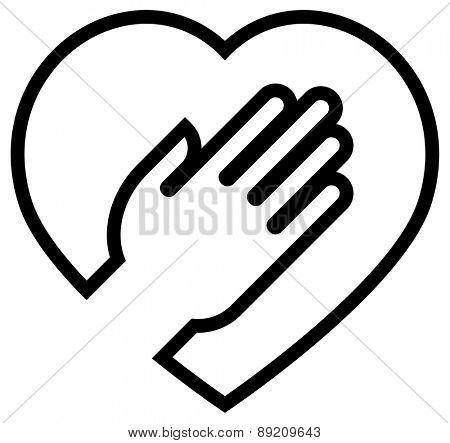 Hand on heart vector icon
