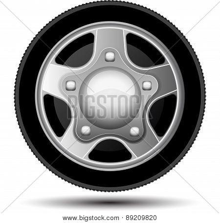Car Wheel. Vector Illustration On White Background