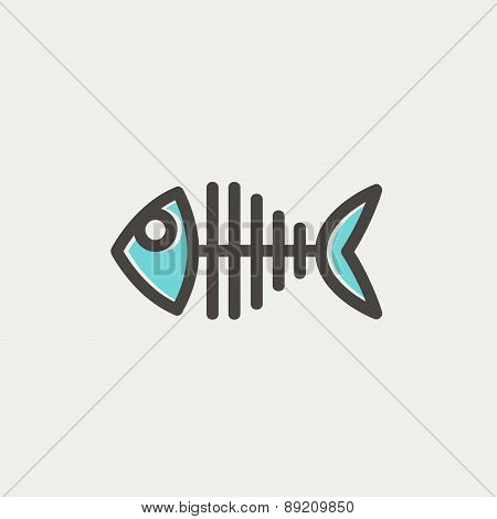 Fish skeleton thin line icon