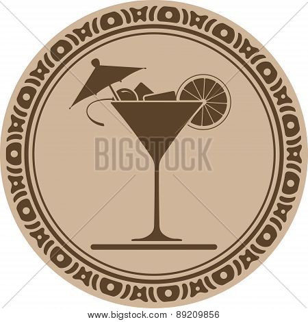 Wine Glass Of Martini Into Decorative Round Frame