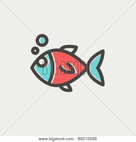 Little fish thin line icon
