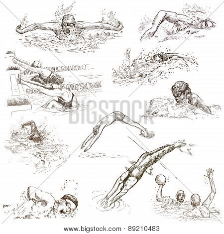 Swimming. Hand Drawn Collection. Original Sketches.