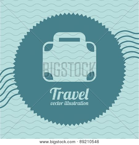 travel icon over blue background with suitcase vector illustrati