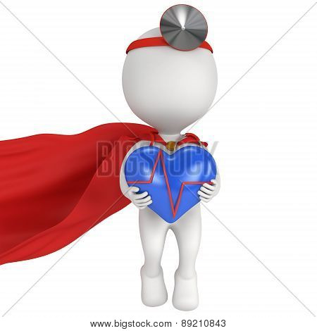 Super Doctor With A Blue Heart With Cardiogram