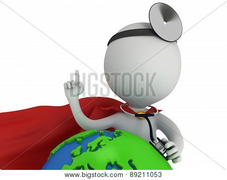 Superhero Doctor With Earth Globe. World Health Day Concept.