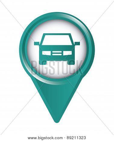 map pointer wirh car design over white background vector illustr
