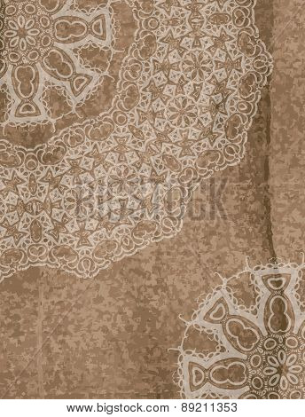 Vintage Design On Wooden Background With Lace Ornament. Template Design For Cover Book Or Card.