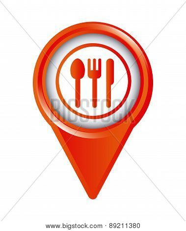 map pointer design with restaurant signal over gray background v