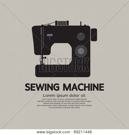 Single Sewing Machine Black Graphic.