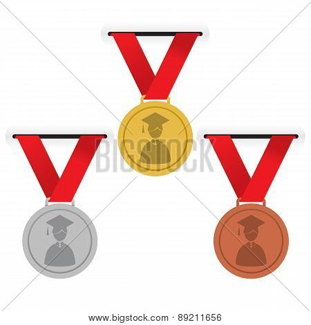 Gold, Silver And Bronze Medals Education Concept.