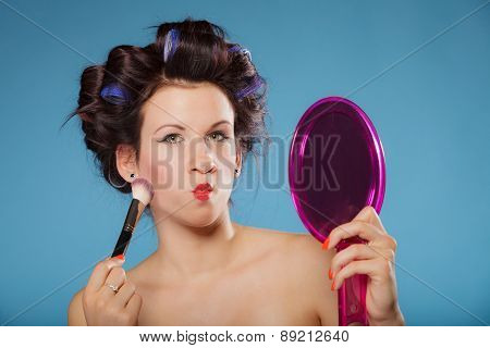 Woman Applying Rouge Blush Makeup