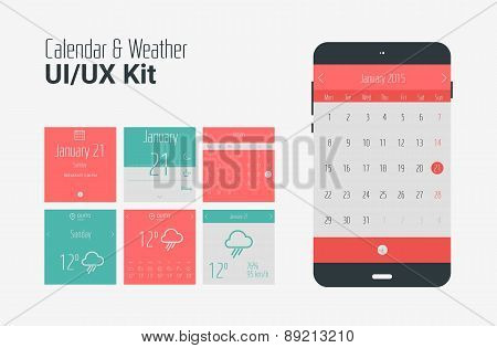 Flat UI or UX mobile calendar and weather apps kit