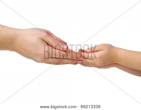 mother gives a hand of a child