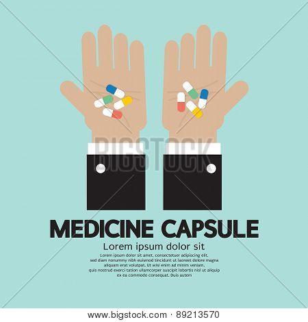 Medicine Capsule In Hand.