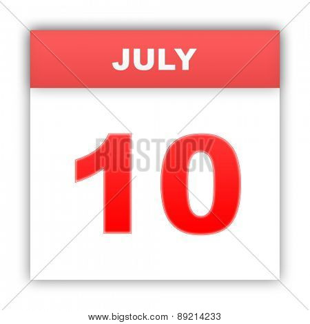 July 10. Day on the calendar. 3d