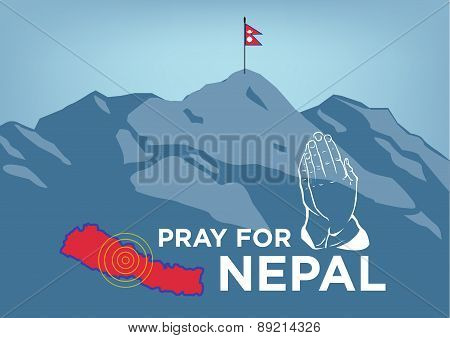 Pray for Nepal. Earthquake Crisis Concept with Hands in Prayer