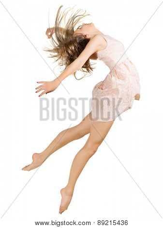 Young girl dancer isolated on white