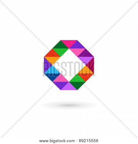 Letter O Number 0 Mosaic Business Logo Icon Design Template Elements