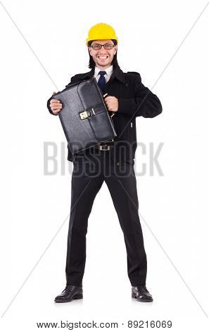 Young construction architect isolated on the white