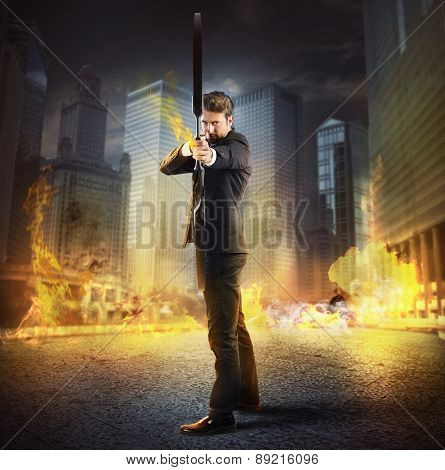 Determinated businessman with bow