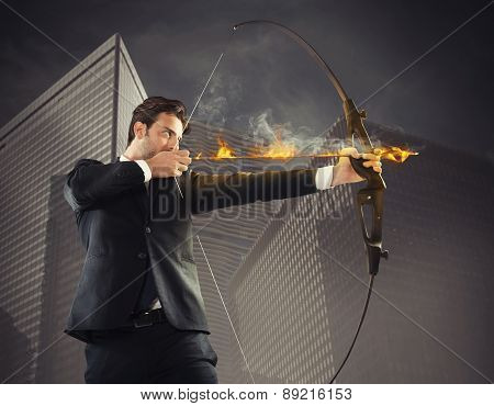 Businessman takes aim