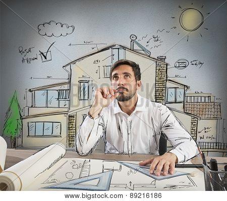 Pensive architect