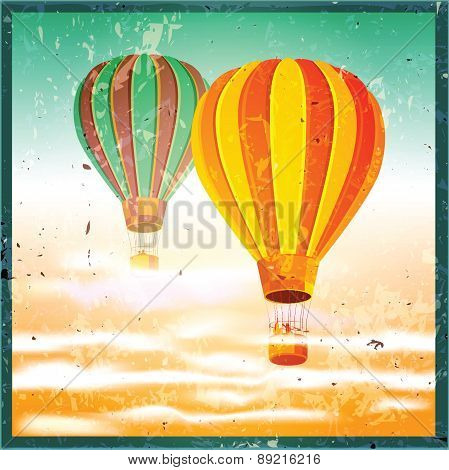 Old Poster With Air Balloons