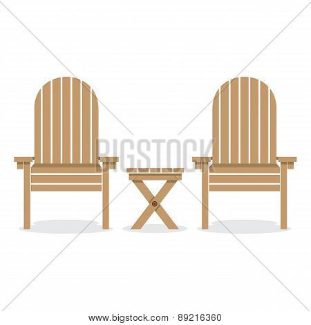 Wooden Garden Chairs And Table.