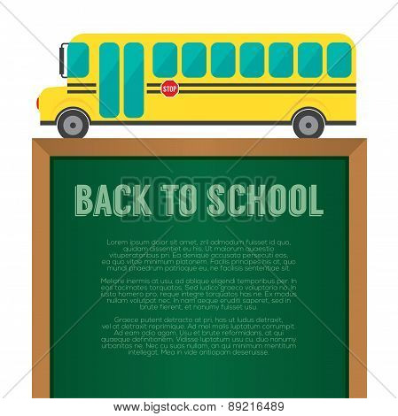 School Bus With Chalkboard Back To School Concept.